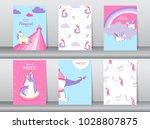 set of cute fantasy poster... | Shutterstock .eps vector #1028807875