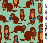 seamless pattern funny brown... | Shutterstock .eps vector #1028808124
