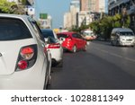 traffic jam with row of cars on ... | Shutterstock . vector #1028811349