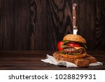 tasty grilled home made burger... | Shutterstock . vector #1028829931