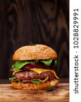tasty grilled home made burger... | Shutterstock . vector #1028829991