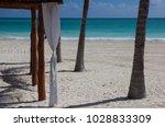 luxury beach shelter on the... | Shutterstock . vector #1028833309