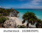 mayan ruins in tulum.tulum is a ... | Shutterstock . vector #1028835091