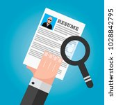 job search resume magnifying... | Shutterstock .eps vector #1028842795