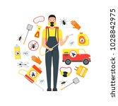 cartoon pest control service... | Shutterstock .eps vector #1028842975