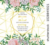 floral wedding invitation with... | Shutterstock .eps vector #1028845021