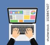 businessman hands on laptop... | Shutterstock .eps vector #1028847607