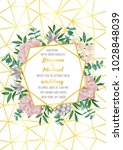 floral wedding invitation with... | Shutterstock .eps vector #1028848039