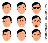cartoon man's head set of emoji.... | Shutterstock .eps vector #1028853799