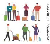 people going on a trip. hand... | Shutterstock .eps vector #1028855491