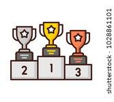 winner trophy cup on podium.  ... | Shutterstock .eps vector #1028861101