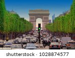 traffic jam with cars in paris... | Shutterstock . vector #1028874577