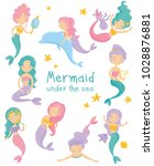 set of beautiful mermaids.... | Shutterstock .eps vector #1028876881