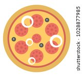 a whole rounded pizza  junk... | Shutterstock .eps vector #1028877985