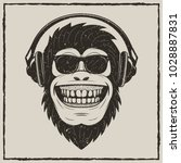 funny monkey in sunglasses... | Shutterstock .eps vector #1028887831
