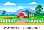 rural landscape with farm house ... | Shutterstock .eps vector #1028889874