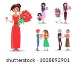 woman with roses and wine ... | Shutterstock .eps vector #1028892901