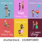 six color posters on womens day ... | Shutterstock .eps vector #1028893885