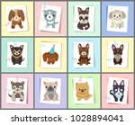 puppies and dogs poster set ... | Shutterstock .eps vector #1028894041