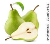 Ripe Pears With Leaf Isolated