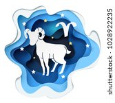 paper art of sheep to aries and ... | Shutterstock .eps vector #1028922235