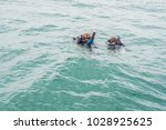 divers on the surface of water... | Shutterstock . vector #1028925625