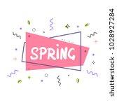 spring lettering on geometric...   Shutterstock .eps vector #1028927284