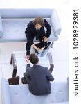 dialogue between two business... | Shutterstock . vector #1028929381