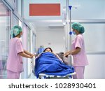 pregnant woman on patient's bed ...   Shutterstock . vector #1028930401