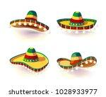sombrero hat set. mexican hat... | Shutterstock .eps vector #1028933977