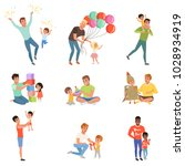 fathers playing and enjoying... | Shutterstock .eps vector #1028934919