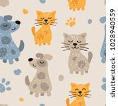 Stock photo childish seamless pattern with cute dogs and cats childish texture for fabric textile 1028940559