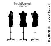 set of woman body black... | Shutterstock .eps vector #1028952724