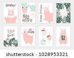 cute pink lamas hand drawn... | Shutterstock .eps vector #1028953321