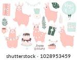 cute pink lamas hand drawn... | Shutterstock .eps vector #1028953459