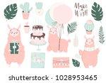 cute pink lamas hand drawn... | Shutterstock .eps vector #1028953465