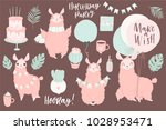 cute pink lamas hand drawn... | Shutterstock .eps vector #1028953471