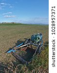 Small photo of Vintage BCS lawn mower, in an agricultural field. Parma Italy