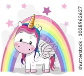 cute cartoon unicorn and... | Shutterstock .eps vector #1028962627