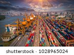 logistics and transportation of ... | Shutterstock . vector #1028965024
