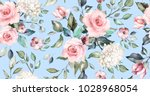 Stock photo seamless pattern with spring flowers and leaves hand drawn background floral pattern for 1028968054