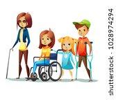 handicapped children with... | Shutterstock .eps vector #1028974294