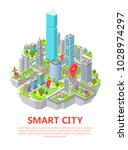 isometric smart city vector... | Shutterstock .eps vector #1028974297