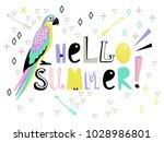 "card with bird ""hello summer""   Shutterstock .eps vector #1028986801"