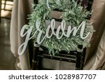 groom sign on a chair | Shutterstock . vector #1028987707