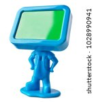 Small photo of Miniature figure with empty board instead a head. Blue toy on white background with clipping path.