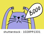 angry cat dissatisfied with life | Shutterstock .eps vector #1028991331
