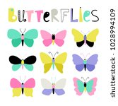 set of colored butterflies   Shutterstock .eps vector #1028994109