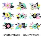 set of different twigs and... | Shutterstock .eps vector #1028995021