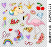 fashion patches and stickers... | Shutterstock .eps vector #1029005221